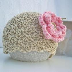 Crochet baby hat - Baby girl hat - Newborn baby hat - Beige - Tan - Pink flower - Organic cotton - Photo prop
