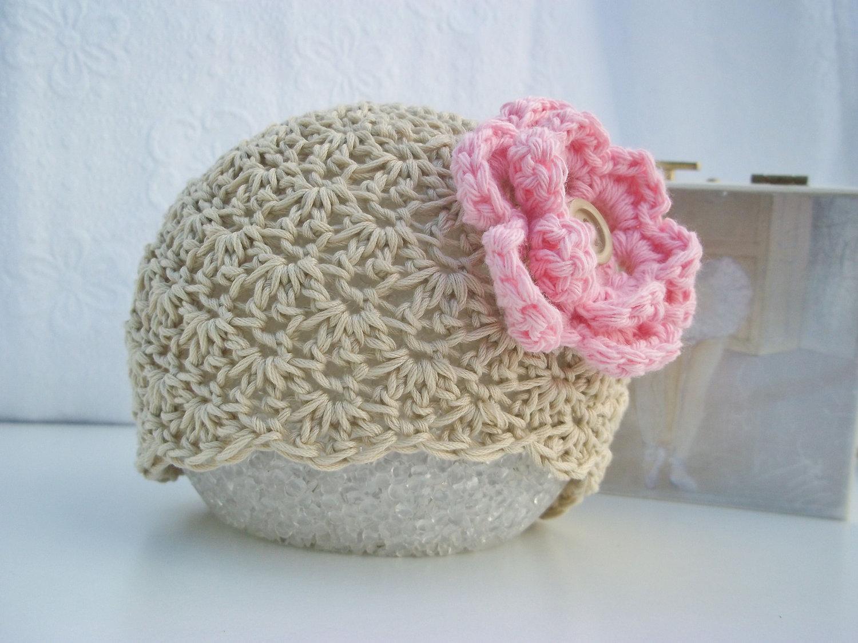 Crochet Baby Hat Baby Girl Hat Newborn Baby Hat Beige Tan